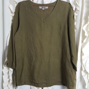 Flax linen lagenlook style pullover top olive